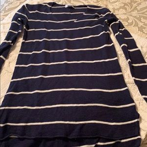 Navy and white striped sweater